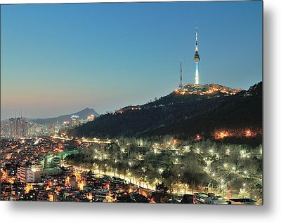 Seoul Tower At Night Metal Print by Tokism