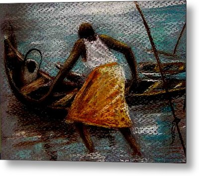 Metal Print featuring the painting Setting Out II by Oyoroko Ken ochuko