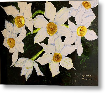 Metal Print featuring the painting Seven Daffodils by Itzhak Richter