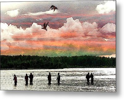 Seven Fishermen Metal Print by Carrie OBrien Sibley
