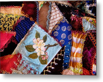 Sewing - Patchwork - Grandma's Quilt  Metal Print by Mike Savad