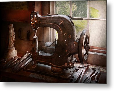 Sewing Machine - Leather - Saddle Sewer Metal Print by Mike Savad