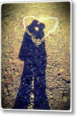 Shadows Of Couple Kissing Over Heart Of Stones Metal Print by Daniel MacDonald / www.dmacphoto.com