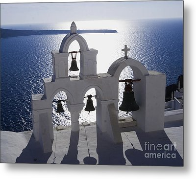 Metal Print featuring the photograph Shadows Of Santorini by Leslie Leda
