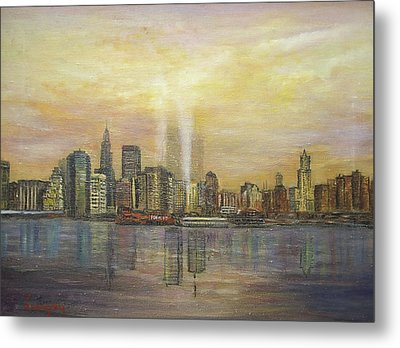 Metal Print featuring the painting shadows of the New York towers by  Luczay