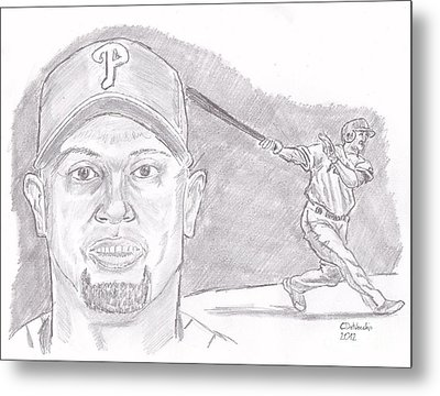 Metal Print featuring the drawing Shane Victorino- Flying Hawaiian by Chris  DelVecchio