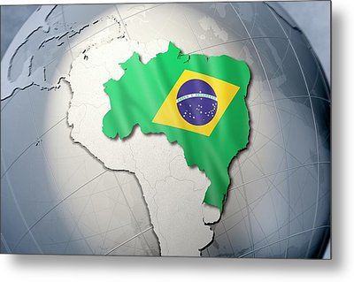 Shape And Ensign Of Brazil On A Globe Metal Print by Dieter Spannknebel