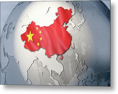 Shape And Ensign Of China On A Globe Metal Print by Dieter Spannknebel