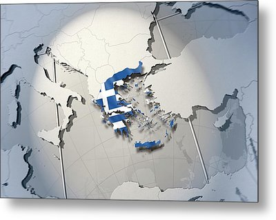 Shape And Ensign Of Greece On A Globe Metal Print by Dieter Spannknebel