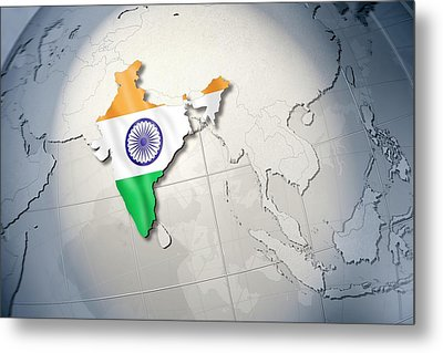 Shape And Ensign Of India On A Globe Metal Print by Dieter Spannknebel
