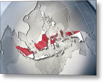 Shape And Ensign Of Indonesia On A Globe Metal Print by Dieter Spannknebel