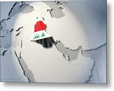 Shape And Ensign Of Iraq On A Globe Metal Print by Dieter Spannknebel