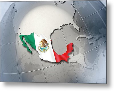 Shape And Ensign Of Mexico On A Globe Metal Print by Dieter Spannknebel