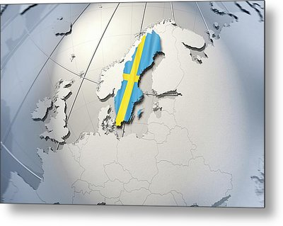 Shape And Ensign Of Sweden On A Globe Metal Print by Dieter Spannknebel