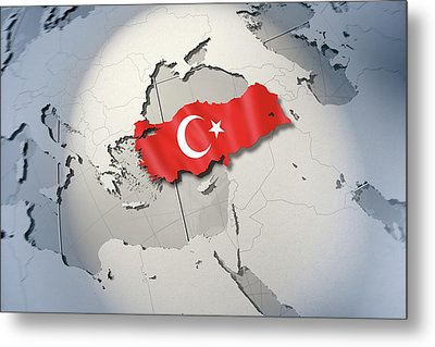 Shape And Ensign Of Turkey On A Globe Metal Print by Dieter Spannknebel