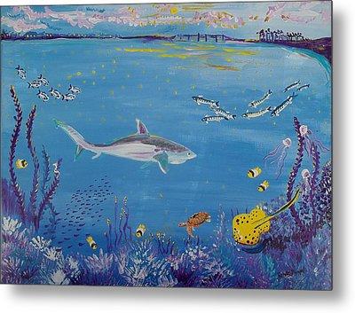 Shark In The Indian River Lagoon Metal Print by Renate Pampel