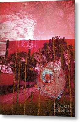 Metal Print featuring the photograph Abstract Shattered Glass Red by Andy Prendy
