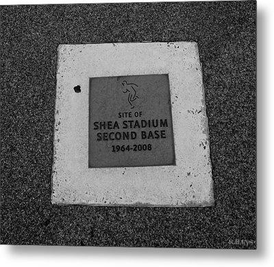 Shea Stadium Second Base Metal Print by Rob Hans