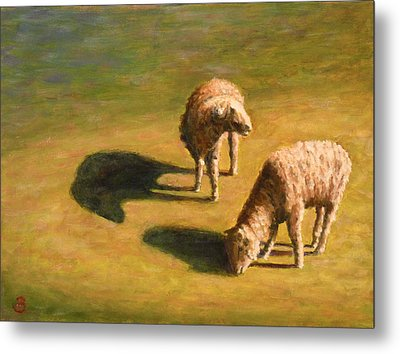 Metal Print featuring the painting Sheep Shapes Two  by Joe Bergholm