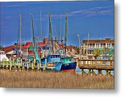 Shem Creek Shrimpers Metal Print by Bill Barber