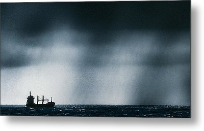 Ship At Sea Caught In Stormy Weather Metal Print by Geoff Tompkinson