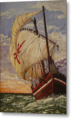 Ship On A Tossing Sea Metal Print by Joy Braverman