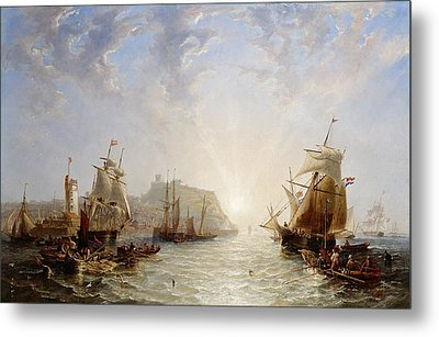 Shipping Off Scarborough Metal Print by John Wilson Carmichael