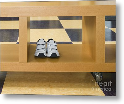 Shoes In A Shelving Unit Metal Print by Andersen Ross
