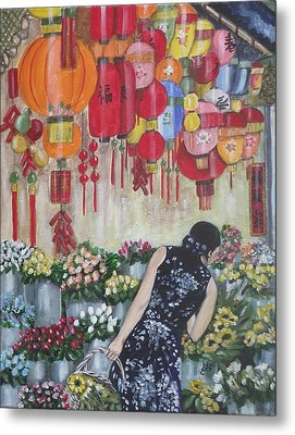 Shopping In Chinatown Metal Print by Kim Selig