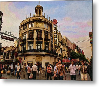 Shopping On The Bund - Shanghai China Metal Print by Helaine Cummins