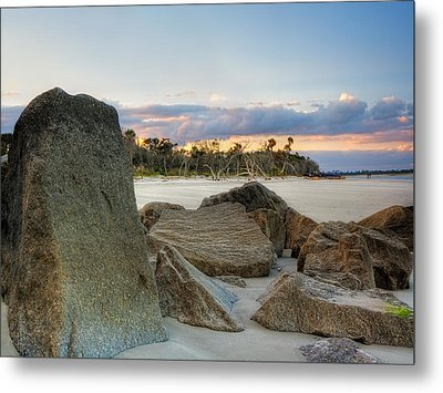 Shoreline Driftwood And Rocks Folly Beach Metal Print by Jenny Ellen Photography