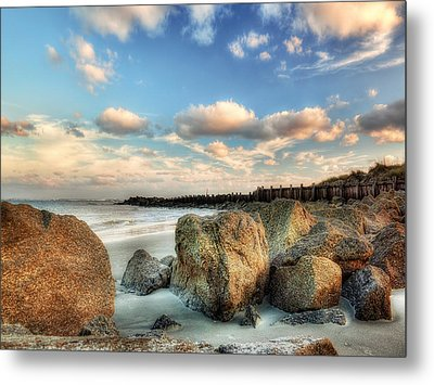 Shoreline Rocks And Fence Posts Folly Beach Metal Print by Jenny Ellen Photography