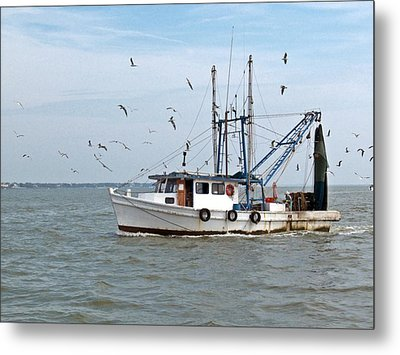 Shrimp Boat And Gulls Metal Print