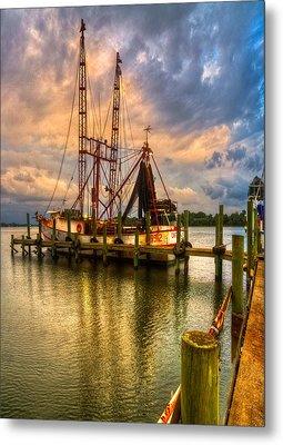 Shrimp Boat At Sunset Metal Print by Debra and Dave Vanderlaan