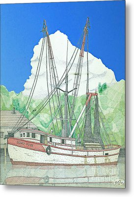 Shrimp Boat Sally Faye Metal Print by Calvert Koerber