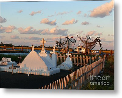 Metal Print featuring the photograph Shrimp Boats And Cemetery by Jeanne  Woods