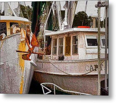 Shrimp Boats Metal Print by Larry Bishop