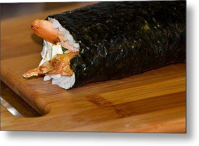 Shrimp Sushi Roll On Cutting Board Metal Print by Carolyn Marshall