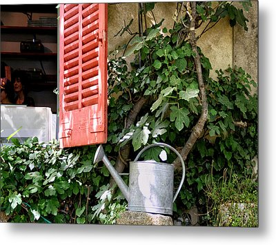 Shutters And Watering Can Metal Print by Sandra Anderson