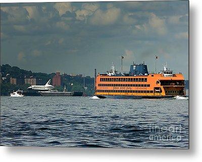Shuttle Enterprise Glides Past Staten Island Ferry Metal Print by Tom Callan