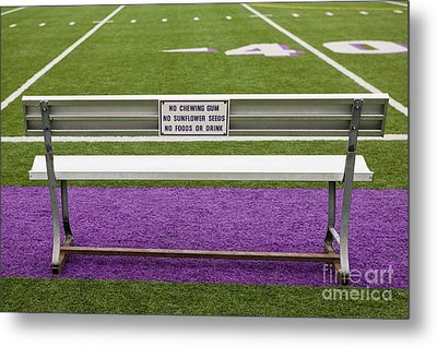 Sign On Athletic Field Bench Metal Print by Andersen Ross