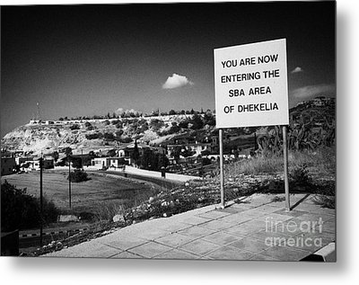 sign overlooking pyla and turkish controlled territory marking entrance of SBA Sovereign Base area Metal Print by Joe Fox