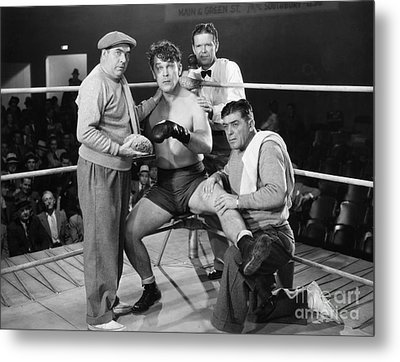 Silent Film Still: Boxing Metal Print by Granger