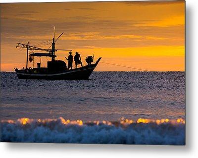 Silhouette Fisherman On Boat In Sunset Huahin Metal Print by Arthit Somsakul