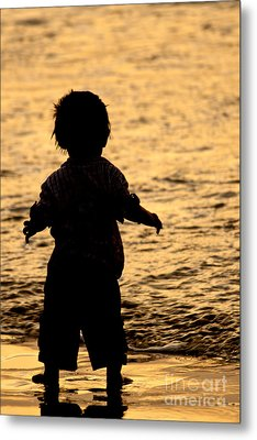 Silhouette Of A Child 1 Metal Print by Carole Lloyd