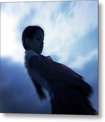 Silhouette Of A Girl Against The Sky Metal Print by Joana Kruse