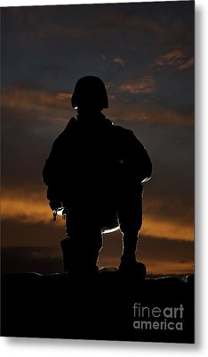 Silhouette Of A U.s. Marine In Uniform Metal Print by Terry Moore