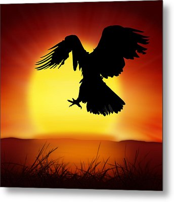 Silhouette Of Eagle Metal Print by Setsiri Silapasuwanchai