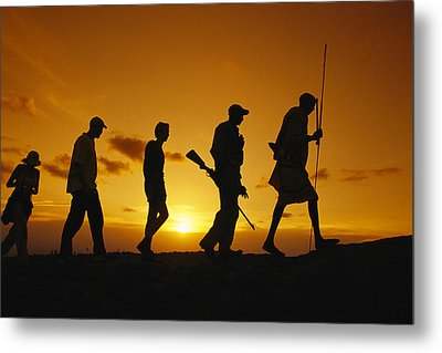 Silhouette Of Laikipia Masai Guides Metal Print by Richard Nowitz