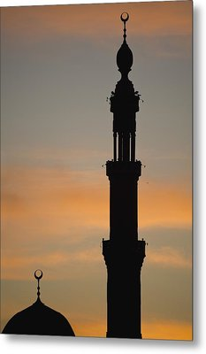 Silhouette Of Mosque At Dawn Metal Print by Axiom Photographic